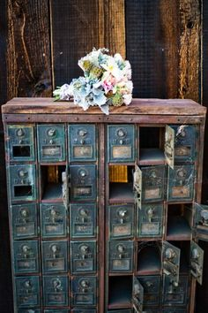 Post office boxes - saw a small version of this at an antique store once and didn't buy it. Still kicking myself. Would love to find one again.