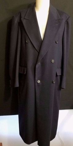Designer ITALIAN Cashmere Wool Double Breasted Navy Overcoat 48 2XL Lined XXL #Zanetti #BasicCoat