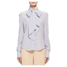 Chloe Silk Crepe Long-Sleeve Tie-Neck Blouse ($1,195) ❤ liked on Polyvore featuring tops, blouses, light blue, women's apparel tops, high neck long sleeve top, light blue long sleeve blouse, long sleeve tie neck blouse, tie neck tie and neck-tie