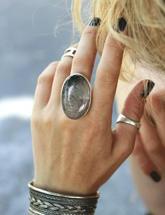 Women's ring with stone silver ring ring with rutilated Unique Silver Rings, Silver Rings With Stones, Stone Rings, Ring Ring, Ring Bracelet, Ring My Bell, Handmade Rings, Locket Necklace, Etsy Jewelry