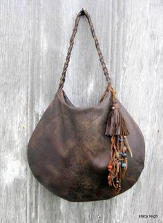 Distressed Brown Soft Slouchy Circle Bag with Leather Fringe Tassel by Stacy Leigh READY to SHIP di stacyleigh su Etsy https://www.etsy.com/it/listing/210034995/distressed-brown-soft-slouchy-circle-bag