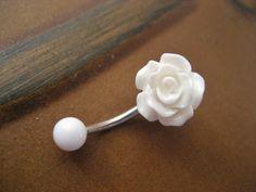 Rose Belly Button Ring Jewelry- White Rose Bud Rosebud Flower Navel Stud Piercing Bar Barbell via Etsy