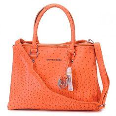 Orange Ostrich Michael Kors bag, with shoulder belt