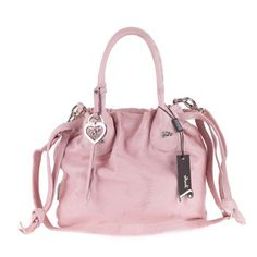 Jenrigo Italian Designer Pink Perforated Leather Small Drawstring Tote Beautiful Handbags Bags Stunningly