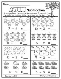 This No- Prep packet is full of fun fall themed subtraction practice. Includes problems within 10 First Grade Math Worksheets, Subtraction Worksheets, Kindergarten Math Worksheets, Math Literacy, Preschool Math, Money Worksheets, Kindergarten Homework, Subtraction Kindergarten, Math For Kids