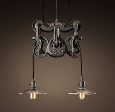 Cast-Iron Barn Door Trolley Pendant