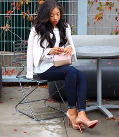 Fall Weekend Vibes   Lace Off Shoulder Chicwish Top, Kate Spade Bag, Dark Denim, Louboutin Pigalles - fall / winter - street style - street chic style - casual outfits