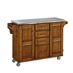 Home Styles Create-a-Cart Kitchen Cuisine Cart with Stainless Steel Top, Warm Oak Finish, Adjustable Shelving, Four Storage Drawers, Towel Rack White Kitchen Cart, Cherry Kitchen, Kitchen Tops, Kitchen Carts, Buy Kitchen, Kitchen Dining, Kitchen Ideas, Kitchen Island With Granite Top, Granite Tops