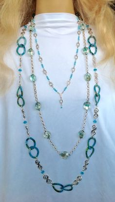 Three Piece Blue & Silver Chain Necklaces/ Easywear