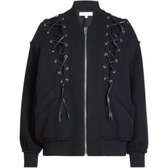 Iro Cotton-Blend Bomber (655,140 KRW) ❤ liked on Polyvore featuring outerwear, jackets, tops, black, bomber jacket, gothic jackets, flight bomber jacket, flight jackets, oversized bomber jacket and oversized jacket