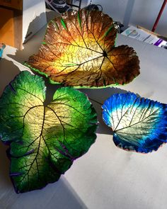 Leaf cement castes hand painted by Barbara                                                                                                                                                                                 More