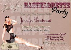 Printable Pin Up Girl Bachelorette Party Invitation (Digital File Only)