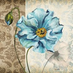 Blue Flower 2 Printable modpodge or scrapbooking