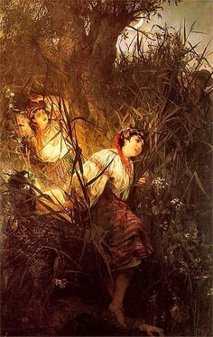 """Witold Pruszkowski """"Rusałki"""" 1877. In Slavic mythology, a rusalka (plural: rusalki or rusalky) was a female ghost, water nymph, succubus, or mermaid-like demon that dwelled in a waterway.    According to most traditions, the rusalki were fish-women, who lived at the bottom of rivers. They lead men away to the river floor to their death."""