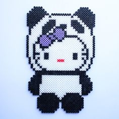 Panda Hello Kitty hama perler beads by littlemissproductive