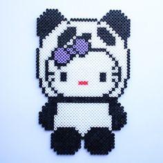 Panda Hello Kitty hama perler beads by littlemissproductive