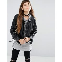 ASOS Leather Biker Jacket with Stitch and Lace up Detail (1,840 EGP) ❤ liked on Polyvore featuring outerwear, jackets, black, studded leather jacket, leather moto jackets, biker jacket, leather biker jacket and leather jackets