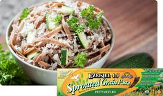 "Food For Live's Ezekiel Sprouted Whole Grain Fettuccine, Non GMO ""The Superheroes of the Vegan World!"" From our pastas and breads, to our cereals, tortillas and english muffins we literally strive to bring you the very best food for your life. Healthy Pastas, Healthy Recipes, My Favorite Food, Favorite Recipes, Vegan Fast Food, Bread And Pastries, Pasta Recipes, Bread Recipes, Entrees"