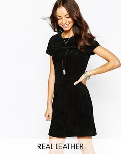 Buy it now. New Look Leather Shift Dress - Black. Dress by New Look, Mid-weight lined suede leather, Round neckline, Zip back closure, Regular fit - cut closely to the body, Specialist leather clean, 100% Suede, Our model wears a UK 8/EU 36/US 4 and is 173 cm/5'8� tall. ABOUT NEW LOOK Offering irresistible fashion and fast off the catwalk styles, New Look joins the ASOS round up of great British high street brands. Bringing forth their award-winning clothing collection of dresses, jeans…