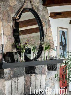 Living Room Mantel restoration hardware mirror with rope Coastal Living Rooms, Coastal Cottage, Coastal Decor, Lake Cottage, Modern Coastal, Rustic Modern, Rustic Decor, Living Spaces, Restoration Hardware Mirror