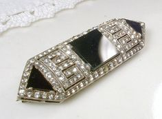 Brooch OR HaiR CoMb Art Deco Black Onyx Pave Rhinestone Bridal Sash / OOAK Hairpiece Sterling Silver 1920s Antique Gatsby Wedding Accessory by  AmoreTreasure