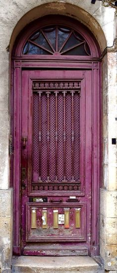 """Beautiful """"Bordeaux"""" Purple door in Bordeaux, France! (Look at all the mail slots in this entry door!)"""