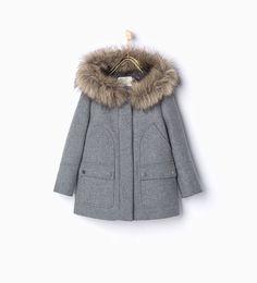 Image 1 of Faux fur wool parka from Zara