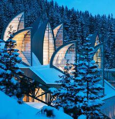 Beautiful architecture of Tschuggen Bergoase Spa by Mario Botta