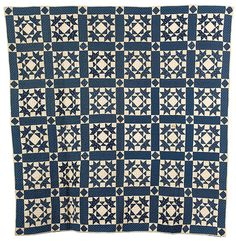 Blue and White Quilt, Goose in the Pond Pattern, - Cowan's Auctions