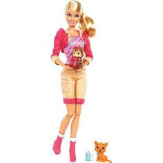 Barbie I Can Be Zookeeper Doll -The Barbie I Can Be Zookeeper doll wears a sporty outfit of khaki shorts, a printed top, a sparkly pink cropped jacket, and chunky boots. The doll comes with a baby monkey and baby tiger and two bottles for pretend feeding.-