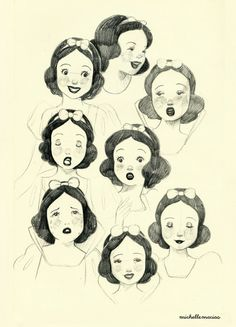 lumpalindaillustrations: What I draw yesterday, Snow White facial expressions (: