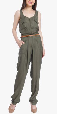 Only-Green-Solid-Jumpsuit-With-Belt