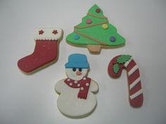 Calcetín, árbol de navidad, muñeco de nieve y bastón.