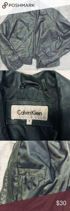 "Calvin Klein jacket Man made ""leather"" jacket. (See tag for material) EUC. Great jacket!! Perfect for fall. Calvin Klein Jackets & Coats"