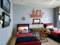 Boys Room - love the striped wall