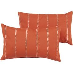 Havenside Home Marion Orange Dotted Stripe Knife Edging Pillow Set (Polyester, Striped), Outdoor Cushion Lumbar Throw Pillow, Throw Pillow Sets, Outdoor Cushions And Pillows, Floor Pillows, Outdoor Fabric, Indoor Outdoor, Outdoor Living, Outdoor Knife, Comfortable Pillows