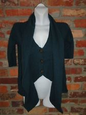 $26.95 OBO Women's 525 America Cashmere & Wool Teal Faux Vest 3/4 Sleeve Sweater Size Small Free Shipping