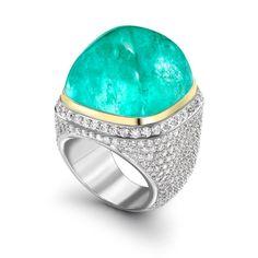 Custom 61.94 carat African Paraiba cabochon and diamond ring. #imagesjewelers Wow.