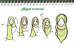 "moonhmz: "" a simple sketch on how I usually wear my hijab. I like it long, especially in the front :) "" 1000 notes! OMG you guyss! My first sketch to reach 1000 notes is this simple sketch of a 'hijab tutorial'. Turban Hijab, Hijab Niqab, Hijab Chic, Hijab Dress, Mode Hijab, Hijab Outfit, Hijab Styles, Scarf Styles, Islamic Fashion"