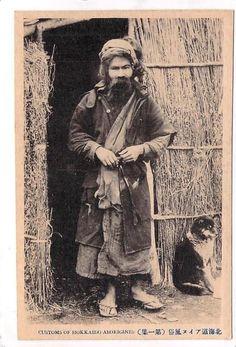 hombre nativo del pueblo ainu de japón