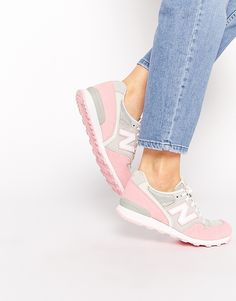 Image 1 - New Balance - 996 - Baskets en daim - Gris/rose pastel