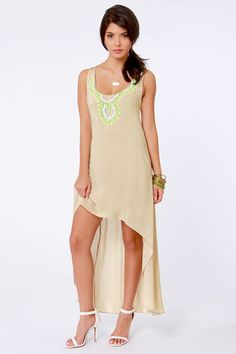Check it out from Lulus.com! The Bombay-b-cakes Beaded Beige Dress has a cross-cultural take on cute that takes Boho to a whole new level! Breathable rayon is key for this warm-weather dress, with neon green embroidery, rhinestones, and ivory beading around the neckline that's reminiscent of bold Indian textile work. Two sets of spaghetti straps merge into a breezy racerback. Rounded high-low hem. Hidden side zipper/hook clasp. Dress is lined to mid-thigh. Model is wearing a size small…