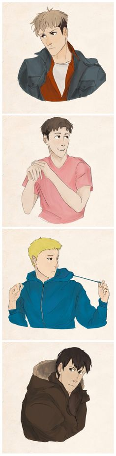 the breakfast club au - jean as the criminal, marco as the princess, reiner as the athlete, and bertholdt as the basket case.