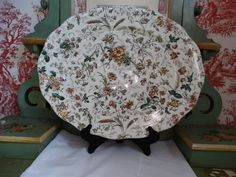 Fabulous Brown, Westhead and Moore Antique Aesthetic Platter in Green Transferware. Made in England. by HomecomingDiningRoom on Etsy
