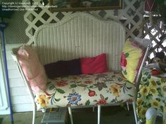 Homemade Bench: Two dining chairs, twin headboard, wood, batting and material. Wicker Furniture Cushions, Sunroom Furniture, Wicker Headboard, Twin Headboard, Wicker Bedroom, Home Furniture, Furniture Ideas, Headboard Ideas, Colorful Furniture