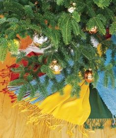 scarf tree skirt from RealSimple 252x300 Unexpected Christmas Tree Skirts