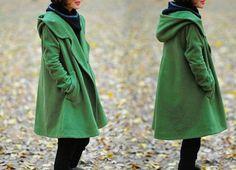 grass green Hoodie Wool cape winter coat van MaLieb op Etsy
