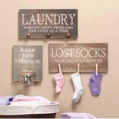 Cute home made Wall Signs for Lost Items and Loose Change in Laundry Room.