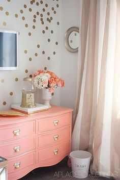 Blissful Office Drapes, coral dresser, gold polka dots