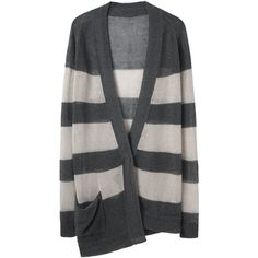 VPL Striped Asymmetric Cardigan ($138) ❤ liked on Polyvore featuring tops, cardigans, sweaters, outerwear, jackets, long button cardigan, striped cardigan, asymmetrical cardigan, striped top and long sleeve cardigan